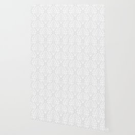 Vintage chic gray white abstract floral damask pattern Wallpaper