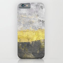 Yellow and Grey Abstract Painting - Horizontal iPhone Case