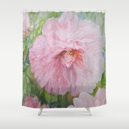 Pink Peonies Watercolor Shower Curtain