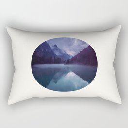 Mid Century Modern Round Circle Photo Reflective Purple And Blue Mountain Silhouette With Lake Rectangular Pillow