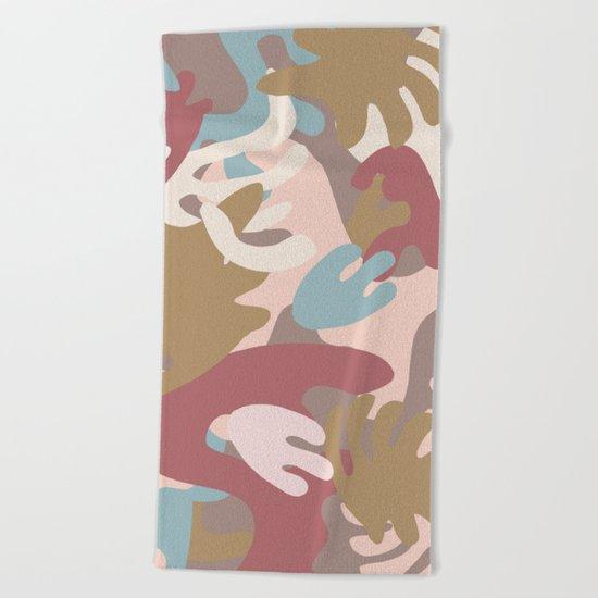 Abstract Leaf Motif Beach Towel