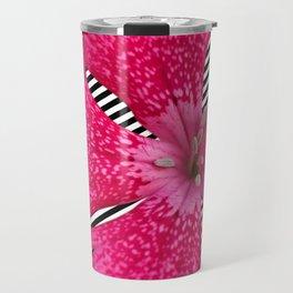 Fuchsia Flower with slanted Stripes Travel Mug