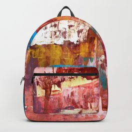 Desert Sun [5]: A bright, bold, colorful abstract piece in warm gold, red, yellow, purple and blue Backpack