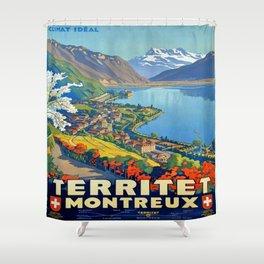 Vintage poster - Territet Montreaux Shower Curtain