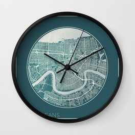 New Orleans Map Planet Wall Clock