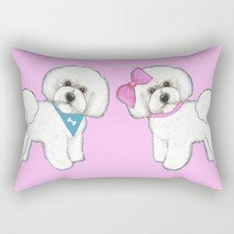 Bichon Frise friends on pink Rectangular Pillow