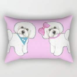 Bichon Frise friends on pink Rectangular Pillow
