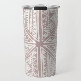 Simply Tribal Tile in Red Earth on Lunar Gray Travel Mug