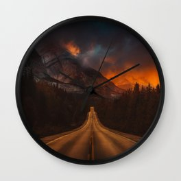 Firesky Mountains Wall Clock