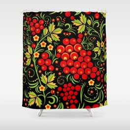 Red berry ornament khokhloma Shower Curtain