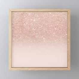 Rose gold faux glitter pink ombre color block Framed Mini Art Print