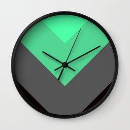Mint Green Gray Chevron Stripes Wall Clock