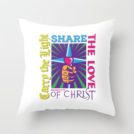 Carry the Light of Christ - White Background Throw Pillow