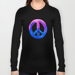 Pink Blue Watercolor Tie Dye Peace Sign Long Sleeve T-shirt