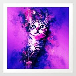 pianca baby cat kitten splatter watercolor purple pink Art Print