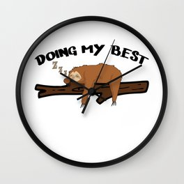 Sloth Chilling Sleeping Work Office Lazy Wall Clock