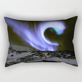 Aurora Borealis Mountains Periwinkle Lavender Rectangular Pillow