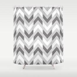 Grey & White Herringbone Chevron Shower Curtain