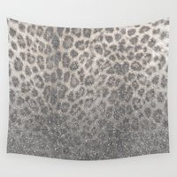 snow leopard Wall Tapestries featuring Shimmer (Snow Leopard Glitter Abstract) by soaring anchor designs