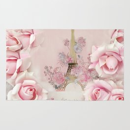 Paris Pink Roses Eiffel Tower Floral Pink Flowers Home Decor Rug