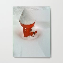 Snow on a Red Fire Hydrant Metal Print
