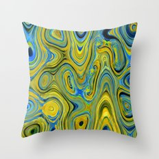 Liquid Yellow And Blue Throw Pillow