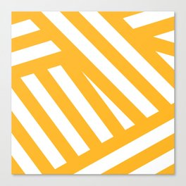 White yellow abstract striped Canvas Print
