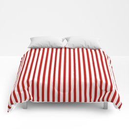 Red & White Maritime Vertical Small Stripes - Mix & Match with Simplicity of Life Comforters