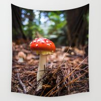 mushroom Wall Tapestries featuring Forest Mushroom by Michelle McConnell