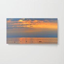 Golden Sunset Sparkle Metal Print