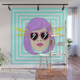 Pink Glasses Hypnotized Girl Wall Mural