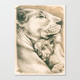 Lioness And The Cub Canvas Print