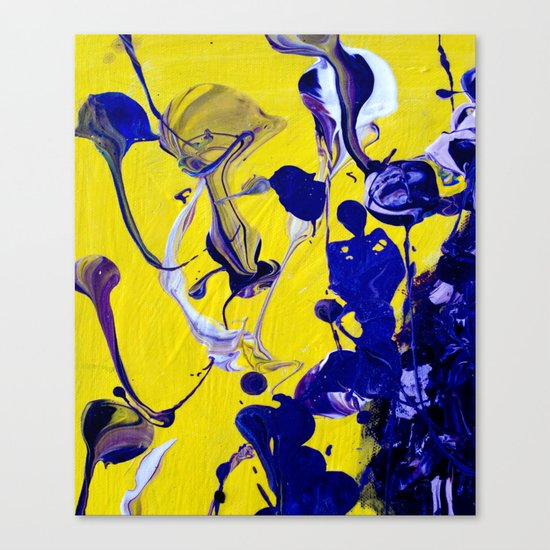 Ultra Violet Blue Yellow Abstract Paint Canvas Print