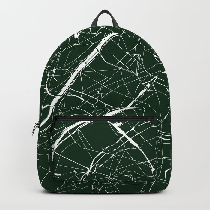 603755485a Paris France Minimal Street Map - Forest Green Backpack by mapmaker ...