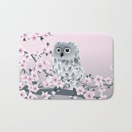 Cute Owl and Cherry Blossoms Pink Gray Bath Mat