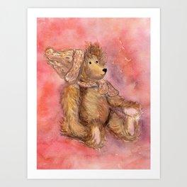Teddy bear in cap and scarf Art Print