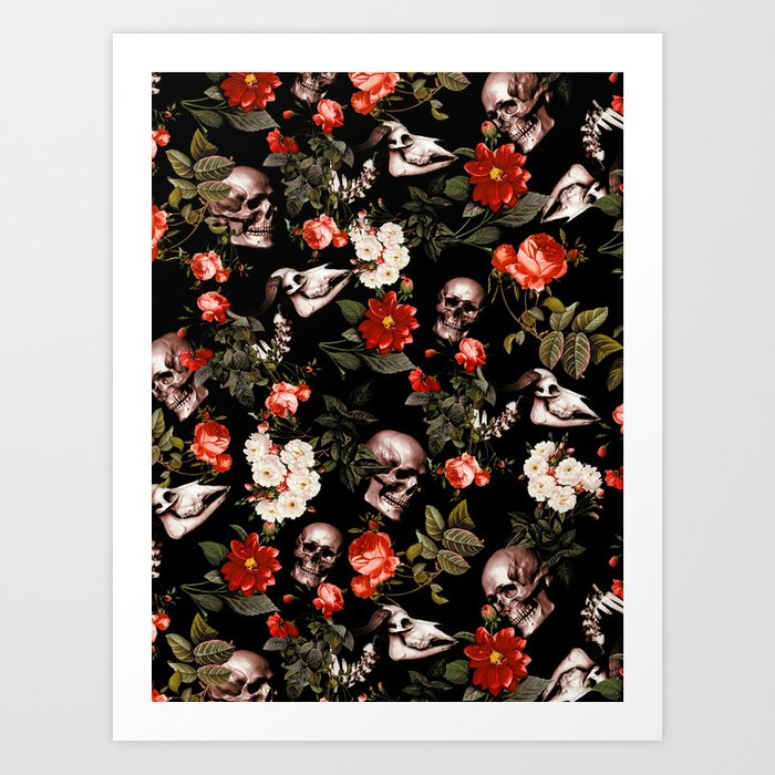 Floral and Skull Dark Pattern Kunstdrucke