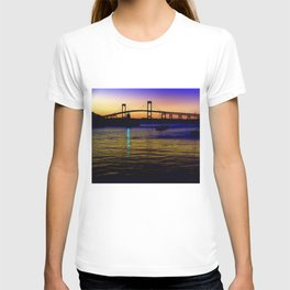 Newport Bridge - Newport, Rhode Island Purple Sunset T-shirt