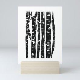 Woodcut Birches Black Mini Art Print
