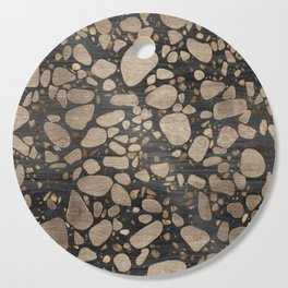 Terrazzo - Mosaic - Wooden texture and gold #2 Cutting Board