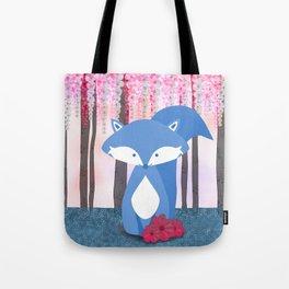 Cute Nursery Fox Flowers Design Tote Bag