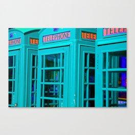 Phone Box - Electric Blue Canvas Print