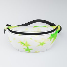 Glowing yellow and green stars on a light background in projection and with depth. Fanny Pack