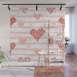 Cute Hearts Background. Seamless Pattern with hearts Wall Mural
