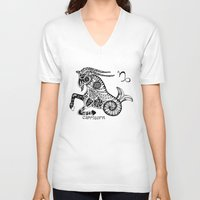 capricorn V-neck T-shirts featuring Capricorn by Anna Shell