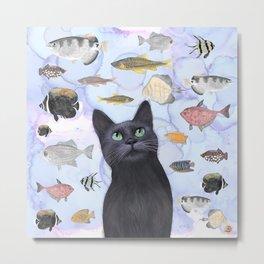 The Hungry Black Cat Gazing at a Fish Tank Metal Print