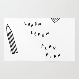 Work Learn Play Grow - dorm nursery kids room pencil illustration Rug