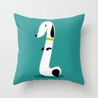 dog Throw Pillows featuring Dog by Maria Jose Da Luz