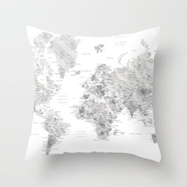 Marble world map in light grey and brown Throw Pillow