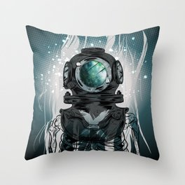Deep Space Diver Throw Pillow